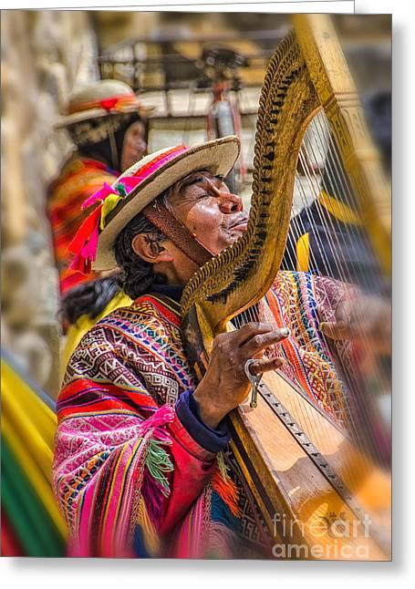Berghoff Greeting Cards - Peruvian Harpist Greeting Card by Jon Berghoff