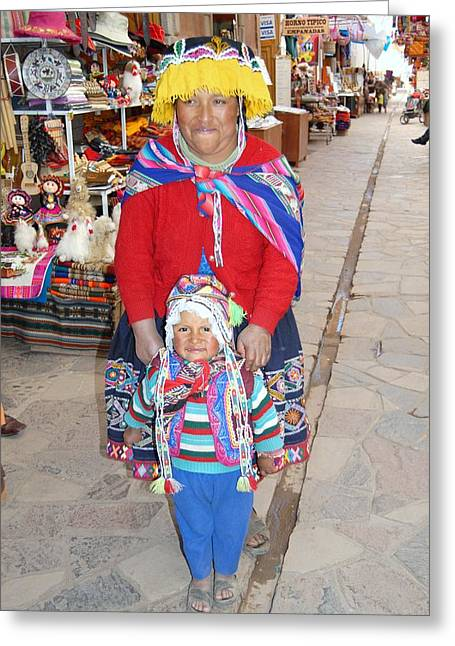 Peruvian Mother And Child Greeting Card by Eva Kaufman