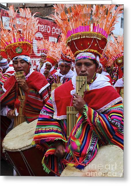 Panpipes Greeting Cards - Peruvian Panpipe Musicians Greeting Card by James Brunker