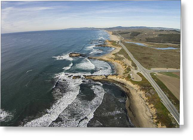 Moon Beach Greeting Cards - Pescadero Beach from above Greeting Card by David Levy