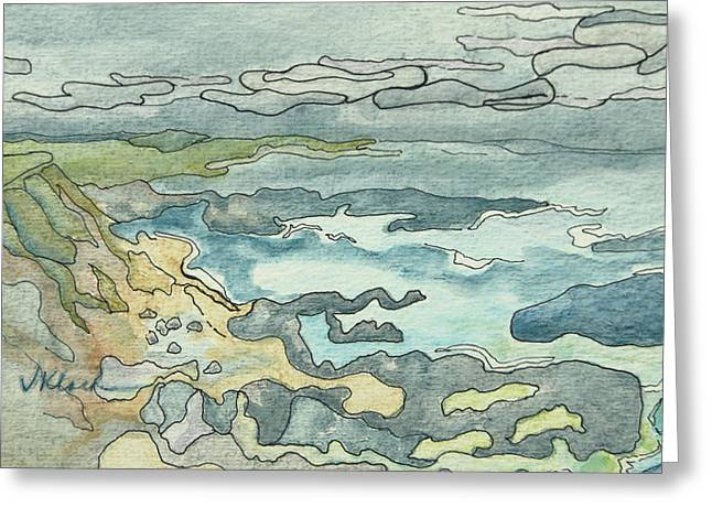 Foggy Beach Paintings Greeting Cards - Pescadero Fog Greeting Card by Victoria Kloch