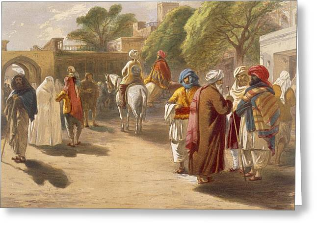 Conversations Drawings Greeting Cards - Peshawar Market Scene, From India Greeting Card by William