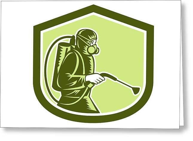 Exterminator Greeting Cards - Pest Control Exterminator Spraying Shield Retro  Greeting Card by Aloysius Patrimonio