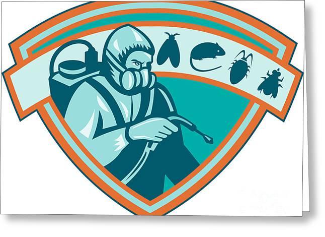 Exterminator Greeting Cards - Pest Control Exterminator Worker Shield Greeting Card by Aloysius Patrimonio