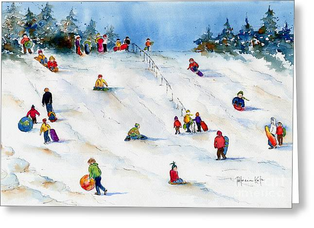Winter Fun Paintings Greeting Cards - Pest Hill Greeting Card by Pat Katz