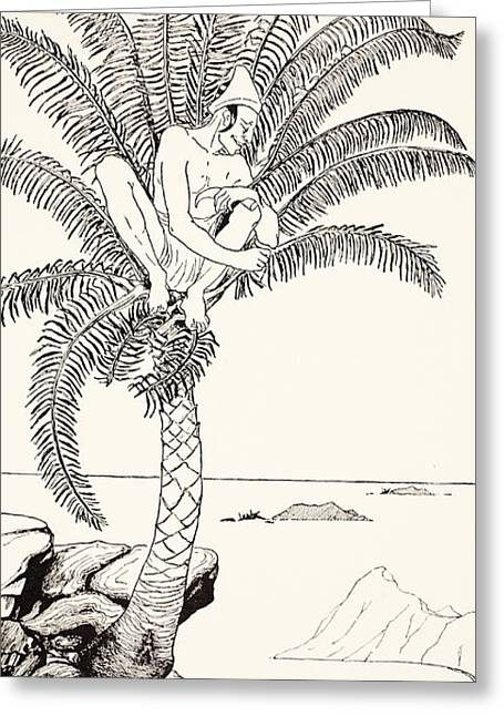 Pen And Ink Drawing Greeting Cards - Pestonjee Bomonjee sitting in his palm-tree and watching the Rhinoceros Strorks bathing Greeting Card by Joseph Rudyard Kipling