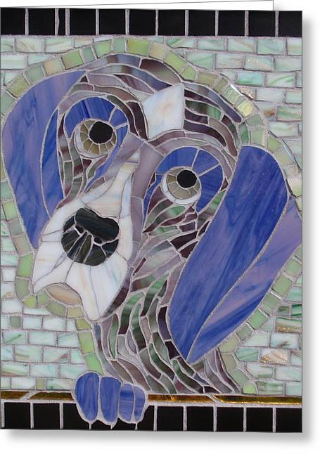 Doggies Glass Art Greeting Cards - Pet Me Pointer Greeting Card by Gila Rayberg