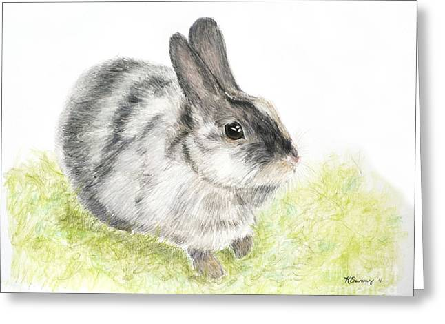 Shade Pastels Greeting Cards - Pet Rabbit Gray Pastel Greeting Card by Kate Sumners