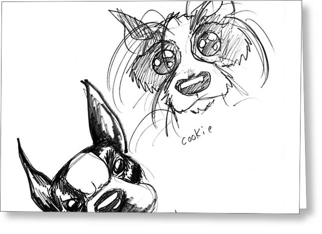 Iroatethis Drawings Greeting Cards - Pet Sketches 3 Greeting Card by Big Mike Roate