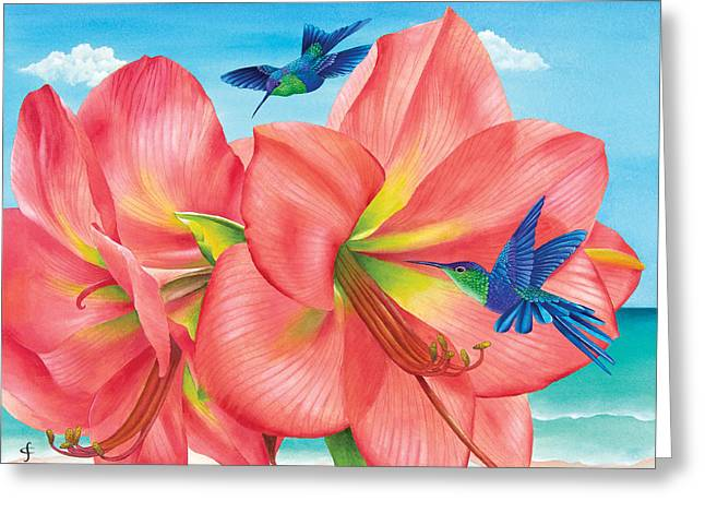 Botanical Beach Greeting Cards - Petal Passion Greeting Card by Carolyn Steele