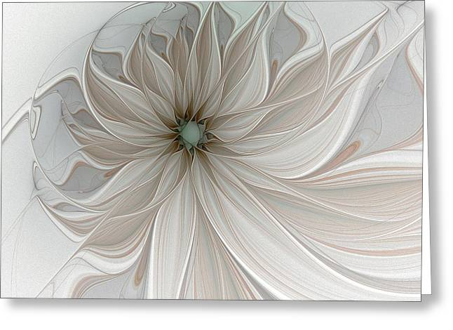Floral Digital Art Greeting Cards - Petal Soft White Greeting Card by Amanda Moore