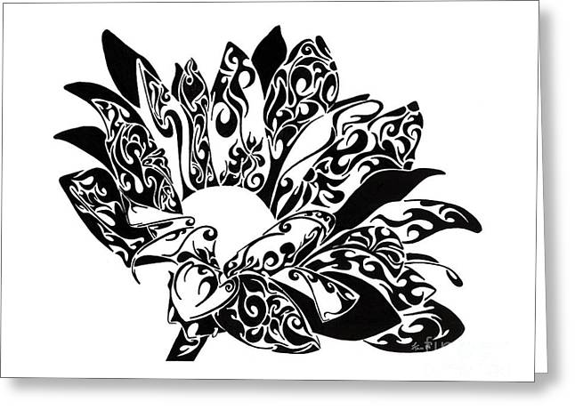 Pen And Ink Drawing Greeting Cards - Petaled Beauty Greeting Card by Anushree Santhosh