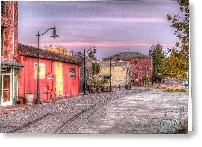 Brick Front Walk Greeting Cards - Petaluma Morning Greeting Card by Bill Gallagher
