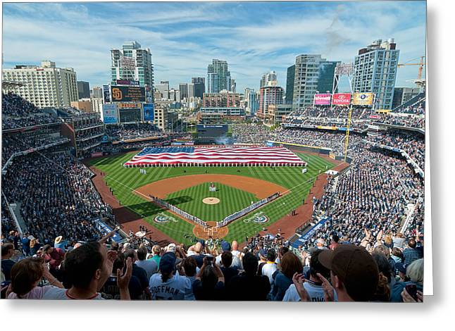 Petco Park Photographs Greeting Cards - Petco Park Season Opener 2011 Greeting Card by Mark Whitt