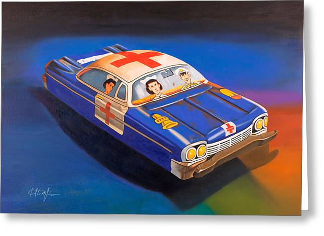 Ambulance Greeting Cards - Pete and Harriet Ride Again Greeting Card by Karl Melton