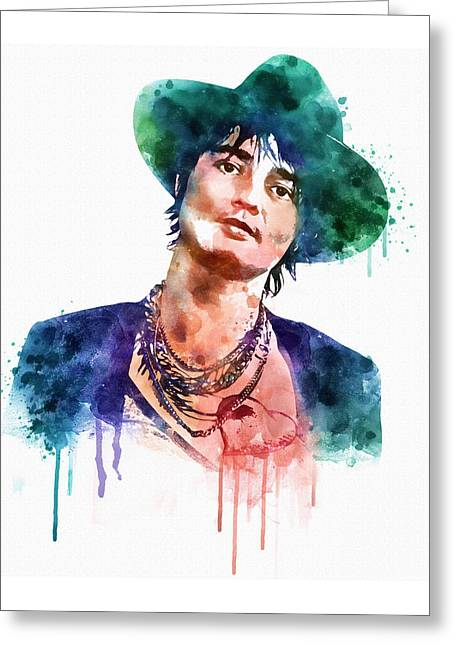 Wall-art Digital Art Greeting Cards - Pete Doherty watercolor  Greeting Card by Marian Voicu