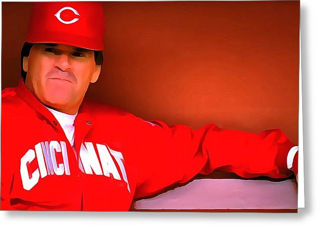 Baseball Glove Mixed Media Greeting Cards - Pete Rose Greeting Card by Dan Sproul