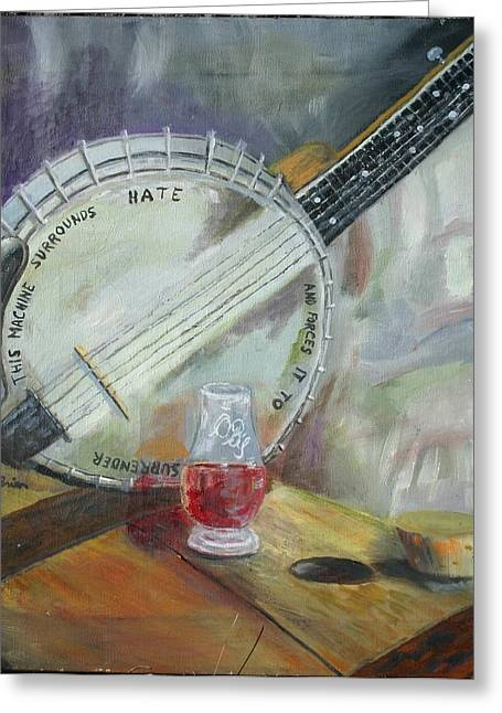 Owensboro Greeting Cards - Pete Seegers Banjo Greeting Card by Pat OBrien