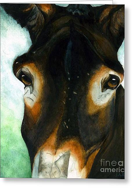 Jack Ass Greeting Cards - Pete the Mule Greeting Card by Janine Riley