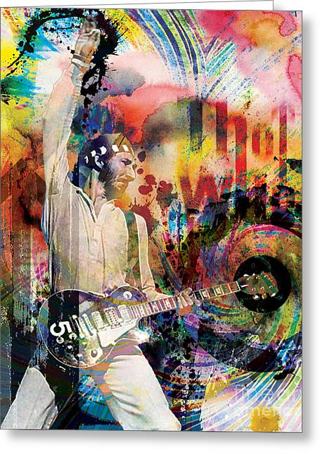 Rock N Roll Greeting Cards - Pete Townshend - The Who  Greeting Card by Ryan RockChromatic