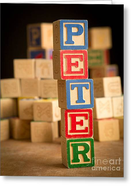 Wooden Alphabet Blocks Greeting Cards - PETER - Alphabet Blocks Greeting Card by Edward Fielding