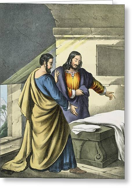 Resurrection Drawings Greeting Cards - Peter And John At The Sepulchre Greeting Card by Siegfried Detler Bendixen