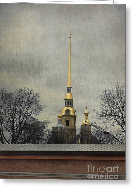 Weathervane Digital Art Greeting Cards - Peter and Paul Fortress Greeting Card by Elena Nosyreva