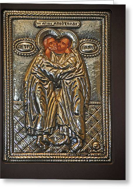 Icon Byzantine Photographs Greeting Cards - Peter And Paul Greeting Card by Jay Milo