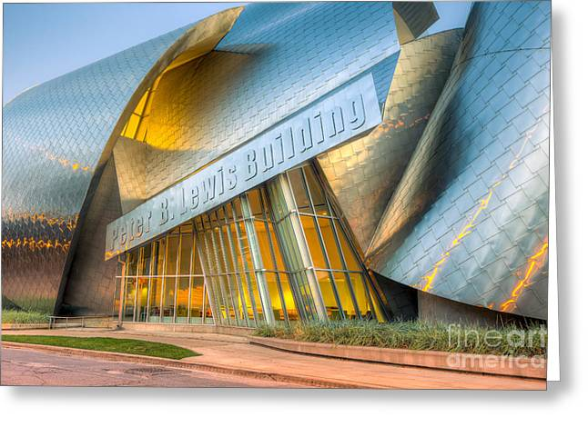 Stainless Steel Greeting Cards - Peter B. Lewis Building I Greeting Card by Clarence Holmes