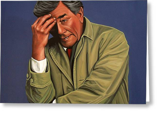 Realistic Paintings Greeting Cards - Peter Falk as Columbo Greeting Card by Paul Meijering