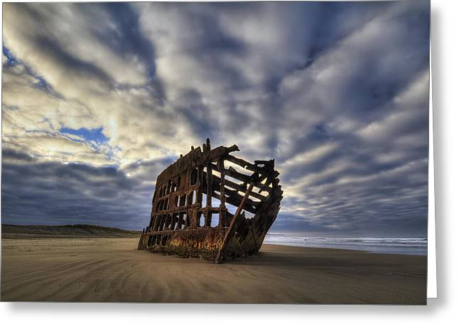 Peter Iredale Shipwreck Sunrise Greeting Card by Mark Kiver