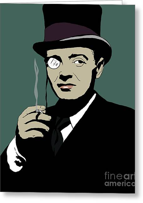 Lorre Greeting Cards - Peter Lorre as The Penguin - Stencil Greeting Card by Seamus Corbett