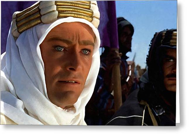 Omar Sharif Greeting Cards - Peter OToole and Omar Sharif in Lawrence of Arabia Greeting Card by Gabriel T Toro