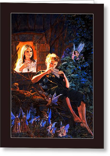 Tinker Bell Greeting Cards - Peter Pan Greeting Card by Patrick Whelan