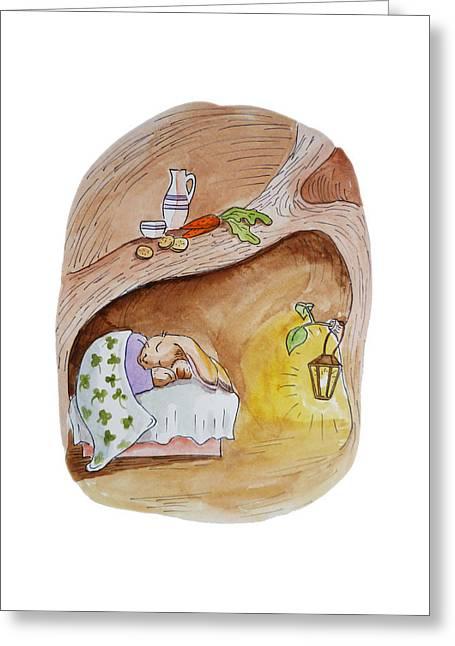 Kid Paintings Greeting Cards - Peter Rabbit  Greeting Card by Irina Sztukowski