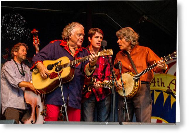 Bass Player Greeting Cards - Peter Rowan Bluegrass Band Greeting Card by Bill Gallagher
