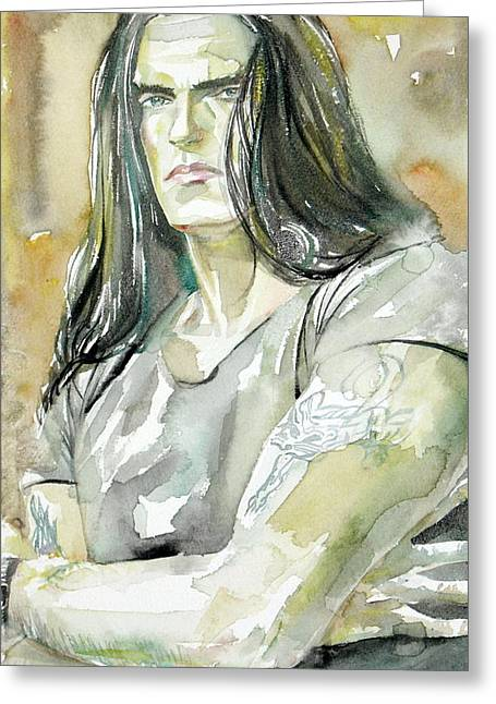 Steele Paintings Greeting Cards - Peter Steele Portrait.2 Greeting Card by Fabrizio Cassetta