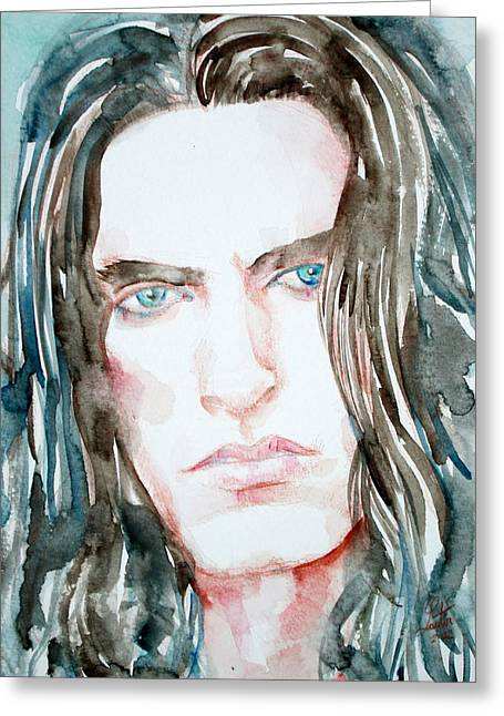 Steele Paintings Greeting Cards - Peter Steele Watercolor Portrait Greeting Card by Fabrizio Cassetta