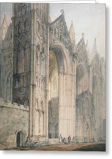 Edifices Greeting Cards - Peterborough Cathedral Greeting Card by Thomas Girtin