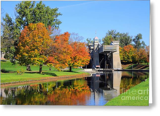 Peterborough Lift Lock Greeting Card by Charline Xia