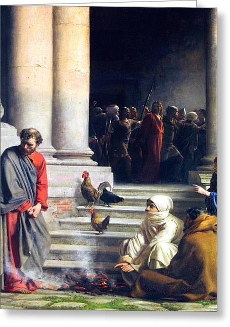 Carl Bloch Prints Greeting Cards - Peters denial of Christ Greeting Card by Carl Bloch