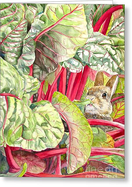 Bunny Greeting Cards - Peters diet Greeting Card by Patricia Pushaw