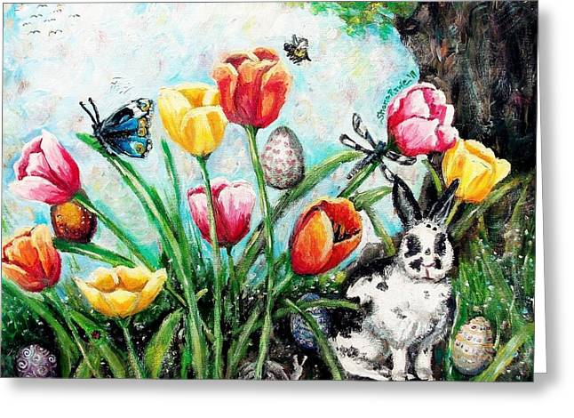 March Hare Greeting Cards - Peters Easter Garden Greeting Card by Shana Rowe