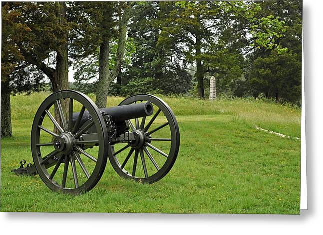 """post Civil War"" Greeting Cards - Petersburg National Battlefield Cannon and Monument Greeting Card by Bruce Gourley"