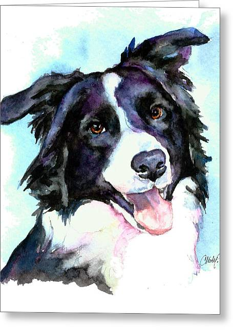 Working Dogs Paintings Greeting Cards - Petey Border Collie Greeting Card by Christy  Freeman
