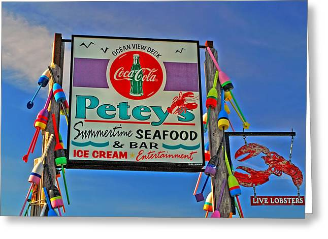 Lobster Shack Greeting Cards - Peteys Seafood Greeting Card by Joann Vitali