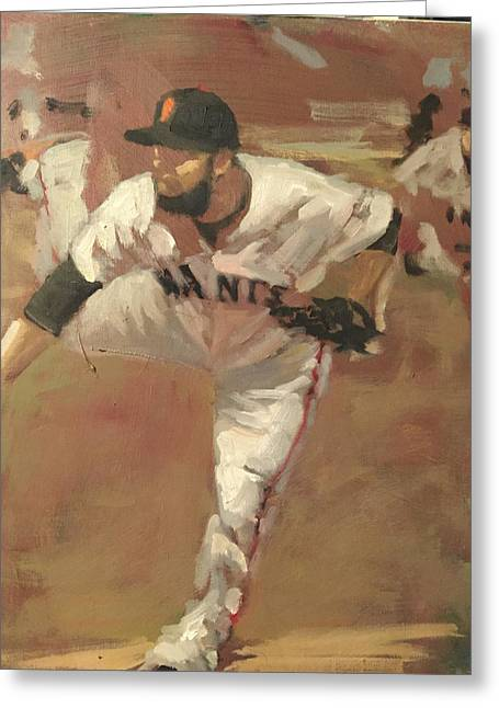 Baseball Paintings Greeting Cards - Petit Delivery Greeting Card by Darren Kerr