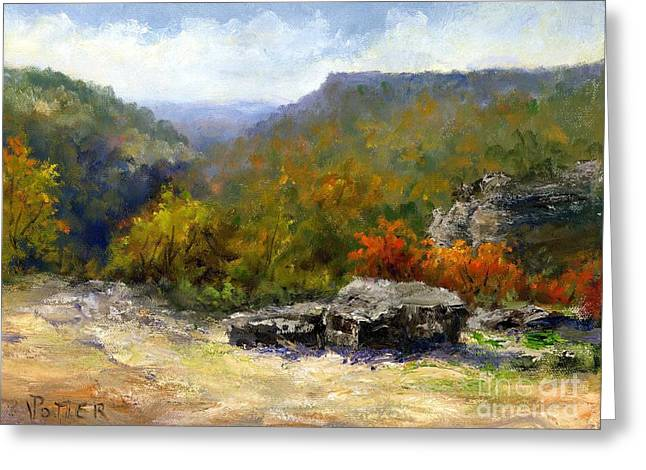 Subtle Colors Greeting Cards - Petit Jean view from Mather Lodge Greeting Card by Virginia Potter