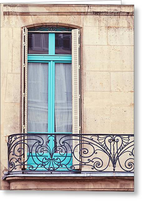Shuttered Windows Greeting Cards - Petit - Parisian Balcony  Greeting Card by Melanie Alexandra Price