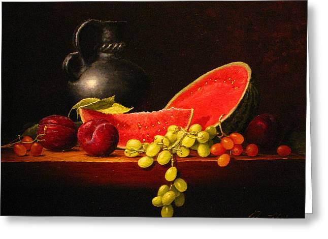 Old Pitcher Paintings Greeting Cards - Petite watermelon Greeting Card by Sean Taber
